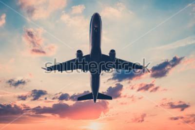 Adesivo aeroplano sul cielo al tramonto - aeromobili, getto sullo sfondo del cielo scenico