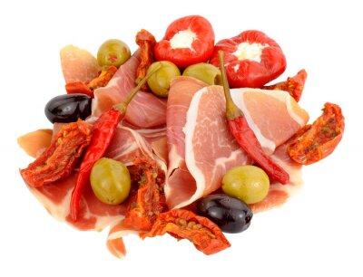 Adesivo Affettato prosciutto Serrano con olive e peperoni