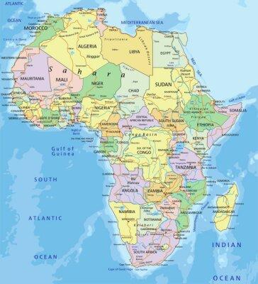 Adesivo Africa - altamente dettagliata mappa politica modificabile.