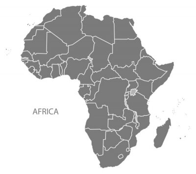 Adesivo Africa Map con i paesi grigio