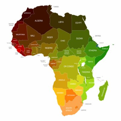 Adesivo Africa Mappa colorate Paesi Shapes