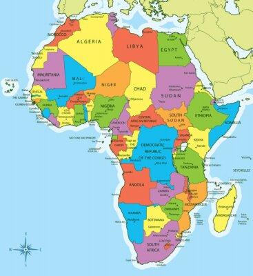 Adesivo Africa mappa con i paesi e le città