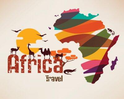 Adesivo Africa mappa, simbolo decrative del continente africano con eth