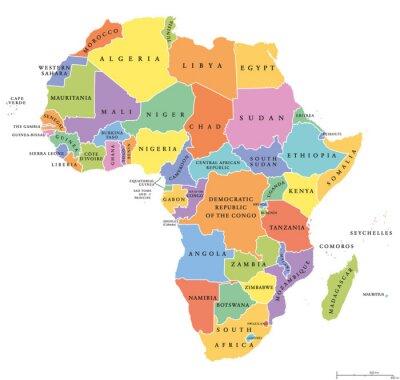 Adesivo Africa singola afferma mappa politica. Ogni paese con una propria area colorata. Con i confini nazionali su sfondo bianco. Continente compresi nazioni Madagascar e insulari. etichettatura inglese.