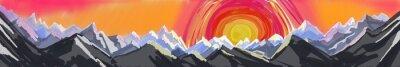 Adesivo Alba in montagna o al tramonto, digitale, arte astratta della pittura di robusta catena montuosa con enorme ambiente colorato sole o in aumento, intestazione o piè di pagina sito web