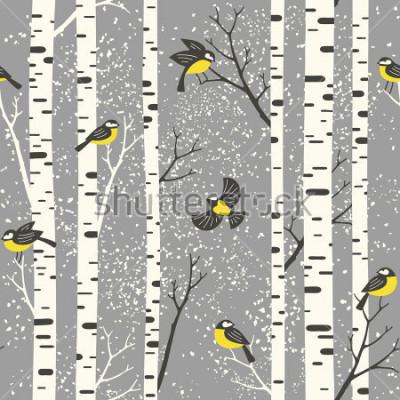 Adesivo Alberi e uccelli di betulla di Snowy su fondo grigio. Modello vettoriale senza soluzione di continuità. Perfetto per il design di tessuto, carta da parati, carta da regalo o cartolina.