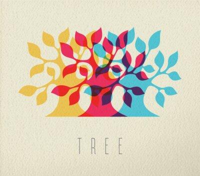 Adesivo albero colorato silhouette concetto di fondo