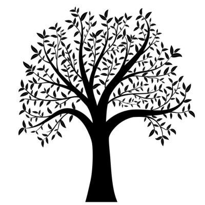 Adesivo albero con foglie vettore