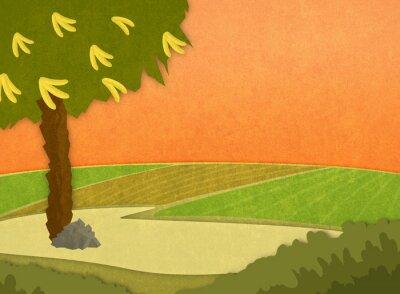 Adesivo Albero di banana con le banane nel prato al tramonto. Cartoon elegante sfondo illustrazione raster.