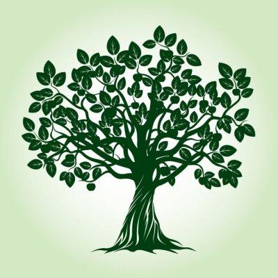 Adesivo Albero mela verde. Illustrazione vettoriale.