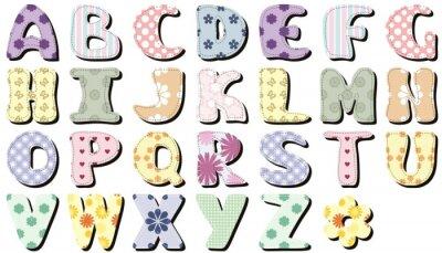 Adesivo album alfabeto su sfondo bianco