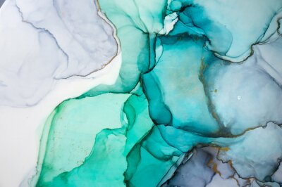 Adesivo Alcohol ink sea texture. Contemporary art. Spots of oil paint. Abstract art background. Multicolored bright texture. Fragment of artwork. Modern art. Inspired by the sky, as well as steam and smoke.