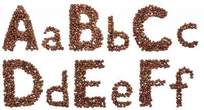 Adesivo alfabeto da chicchi di caffè isolato
