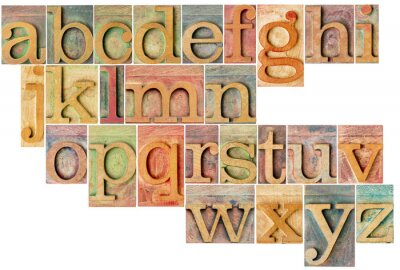 Adesivo alfabeto in legno di tipo tipografica