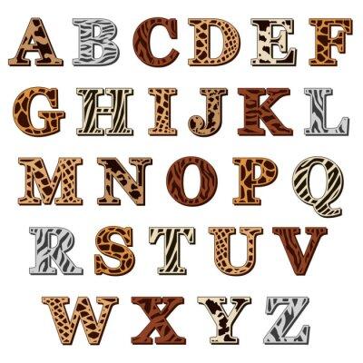 Adesivo Alfabeto latino con stampa animalier
