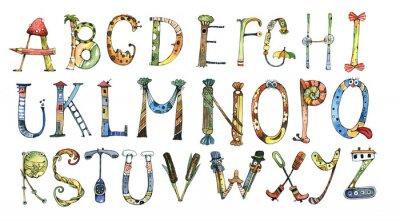 Adesivo alfabeto, lettera, acquerello