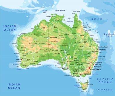 Adesivo Alta dettagliata mappa fisica in Australia con l'etichettatura.