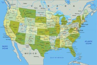 Adesivo Altamente dettagliata mappa politica modificabile con strati separati. Stati Uniti d'America.
