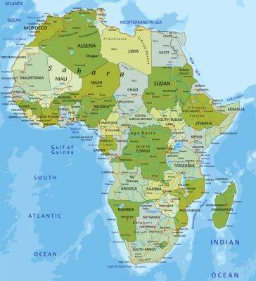 Adesivo Altamente dettagliate modificabile mappa politica. Africa.