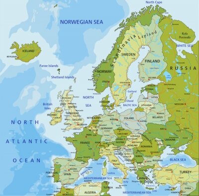 Adesivo Altamente dettagliate modificabile mappa politica. Europa.