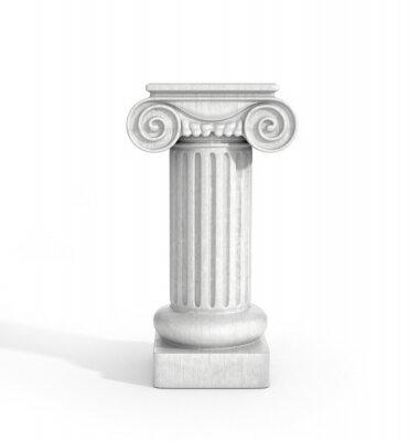 Adesivo Alto dorica colonna pilastro isolato su sfondo bianco. Piedistallo.