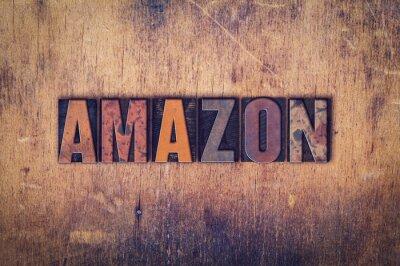 Adesivo Amazon Concetto di legno tipo di stampa tipografica