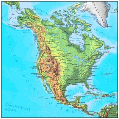 America Nord Cartina Fisica.Adesivo America Del Nord Continente Mappa Fisica