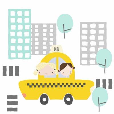Adesivo Amiche allegre in una corsa in taxi per la città. Grafica per bambini. Illustrazione disegnata a mano di vettore