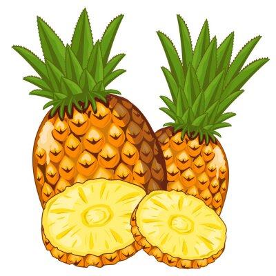 Adesivo Ananas isolato su sfondo bianco.
