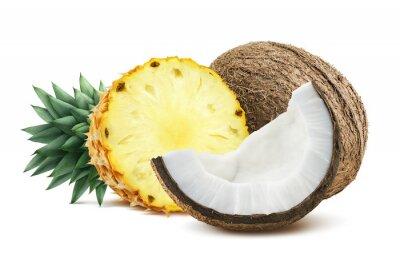 Adesivo Ananas pezzi di cocco composizione 1 isolato su bianco backgro
