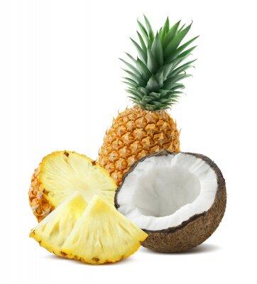 Adesivo Ananas pezzi di cocco composizione 4 isolato su bianco backgro