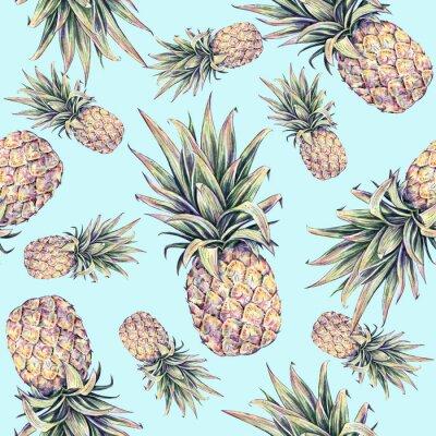 Adesivo Ananas su uno sfondo blu chiaro. Acquerello illustrazione colorata. Frutta tropicale. Seamless pattern