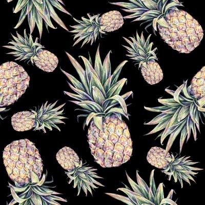 Adesivo Ananas su uno sfondo nero. Acquerello illustrazione colorata. Frutta tropicale. Seamless pattern
