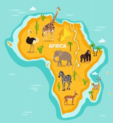 Adesivo Animali africani illustrazione della fauna selvatica vettore. fauna africana, struzzo, giraffe, elefanti, scimmie, zebra, Lemure, antilope in stile cartone animato. continente africano in oceano blu c