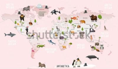 Adesivo animali della mappa del mondo per la carta da parati della stanza dei bambini