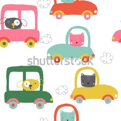 Adesivo Animali divertenti nel modello senza cuciture di automobili. Stampa per bambini carini. Illustrazione disegnata a mano di vettore