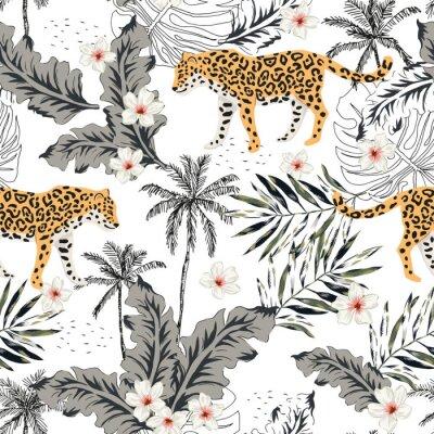 Adesivo Animali leopardo tropicale, fiori di plumeria, foglie di palma, alberi, fondo bianco. Reticolo senza giunte Illustrazione grafica. Estate disegno floreale spiaggia. Piante esotiche nella giungla. Natu