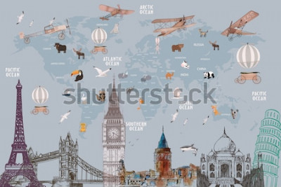 Adesivo Animals world map and famous landmarks of the world for kids wallpaper design