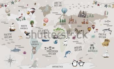 Adesivo Animals world map for kids wallpaper design