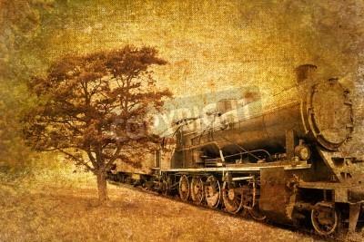 Adesivo annata astratta del treno a vapore