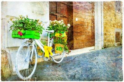 Adesivo annata bici floreale - affascinante decorazione di strada