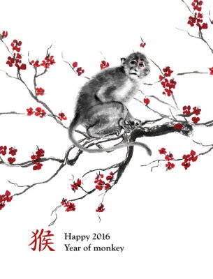 Adesivo anno biglietto di auguri di scimmia. Una scimmia seduto su un ramo di fiori di ciliegio, pittura a inchiostro orientale. Con geroglifico cinese