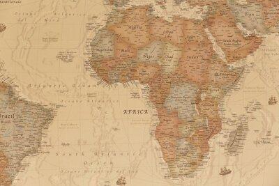 Adesivo Antica mappa geografica dell'Africa con i nomi dei paesi