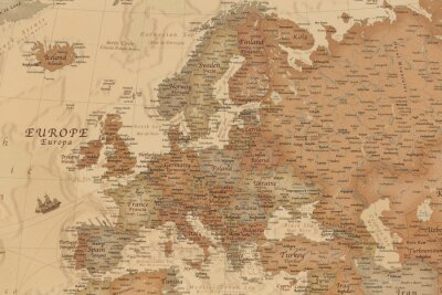 Adesivo Antica mappa geografica dell'Europa con i nomi dei paesi