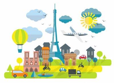 Adesivo Appartamento design illustrazione con la torre Eiffel a Parigi Town