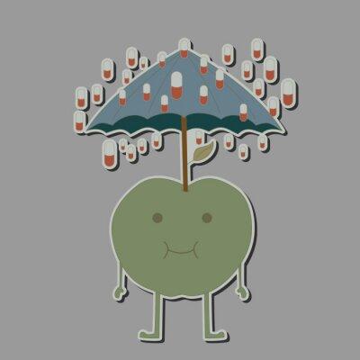 Adesivo apple con ombrellone e compresse pioggia
