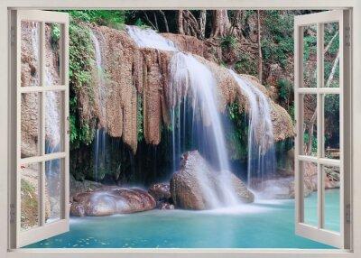 Adesivo Aprire la finestra al fine di Erawan Falls, Thailandia