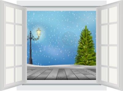 Adesivo Aprire la finestra di albero e lampione Natale su sfondo invernale