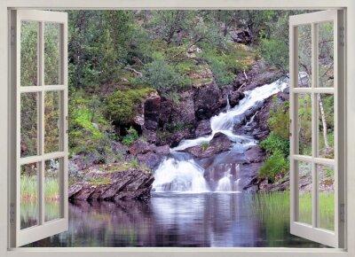 Adesivo Aprire la finestra vista montagna cascata e stagno