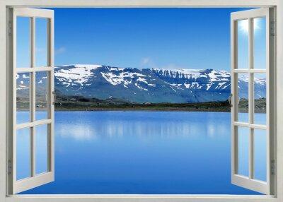 Adesivo Aprire la finestra vista panoramica di montagne di neve e il lago